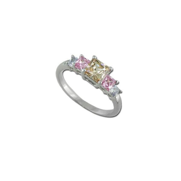 Princess Cut Multicolor 5 Stone Ring