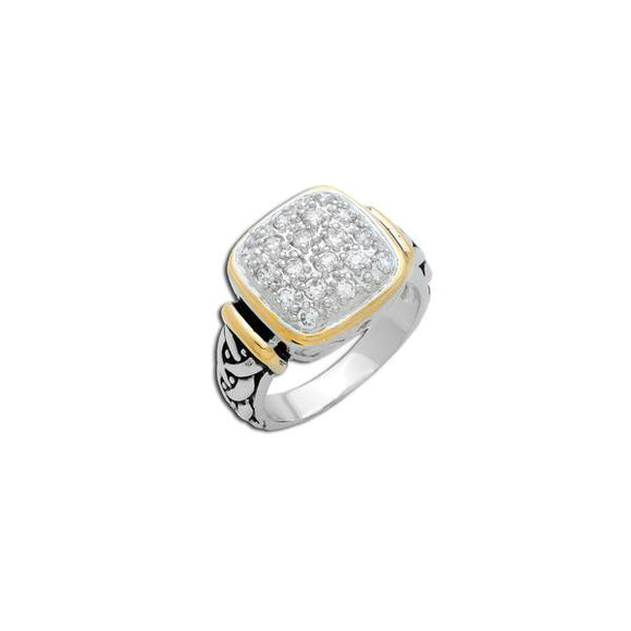 Designer Two-Tone Pavé Square Ring