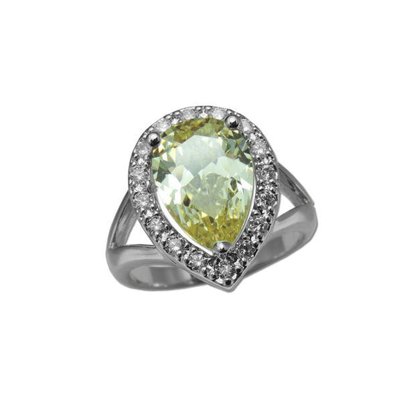 Canary Pear Cut Ring