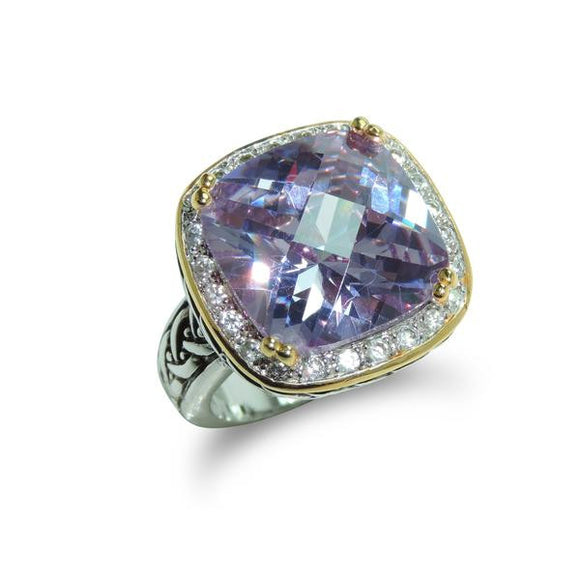 Cushion Cut Two-Tone Amethyst Ring