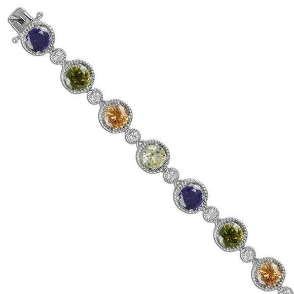 Multi-Color Round Stone Bracelet