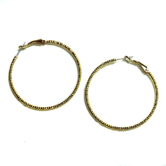 Gold 45mm Diamond Cut Hoop Earrings