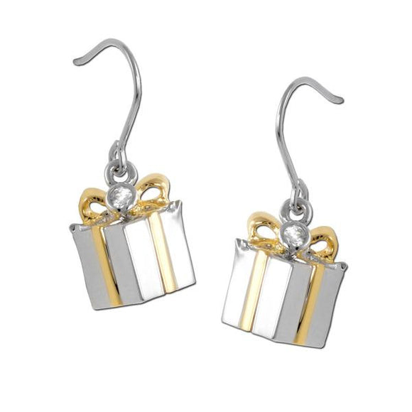 2 Tone Gift Box Earrings