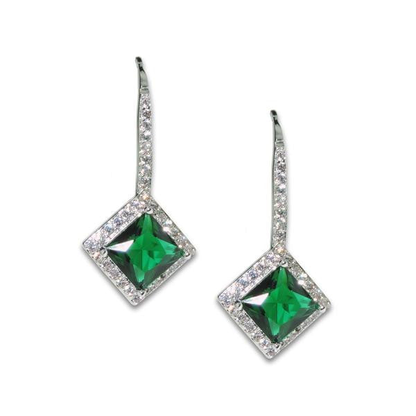Princess Cut Emerald Drop Earrings