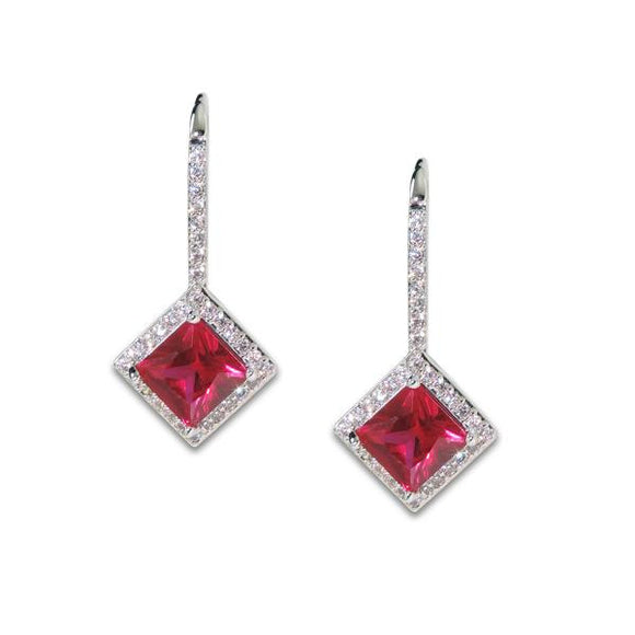 Princess Cut Ruby Drop Earrings