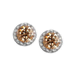 Round Cut Pavé Champagne Stud Earrings