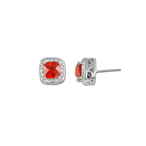Cushion Cut Garnet Stud Earrings