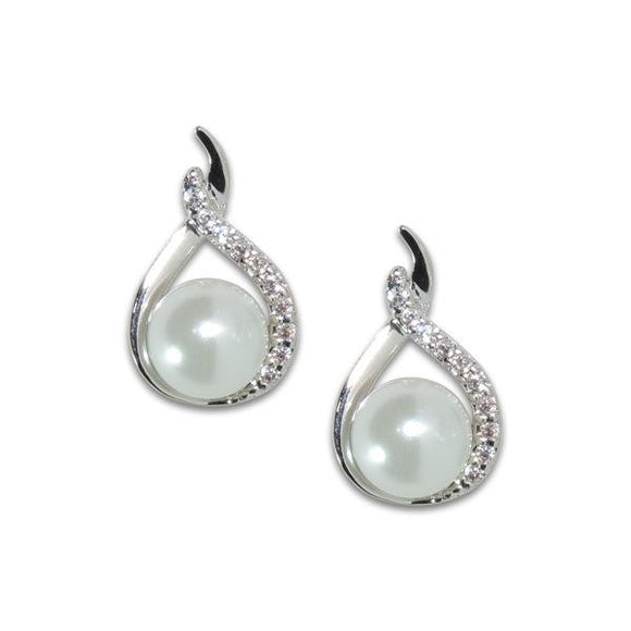 Pavé Teardrop Pearl Earrings
