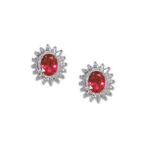 Oval Cut Ruby Earrings