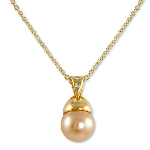 Gold Champagne Pearl Necklace