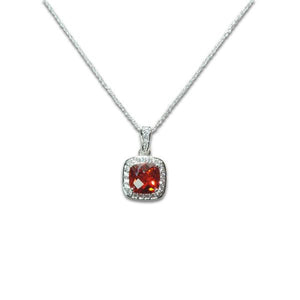 Cushion Cut Garnet Necklace