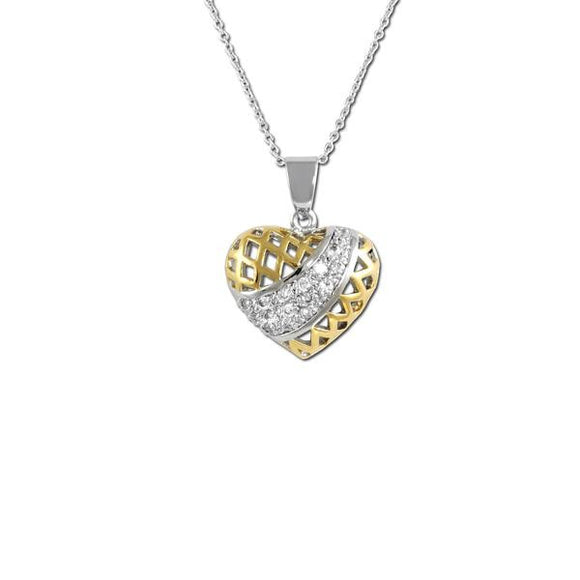 2 Tone Cage Heart Necklace