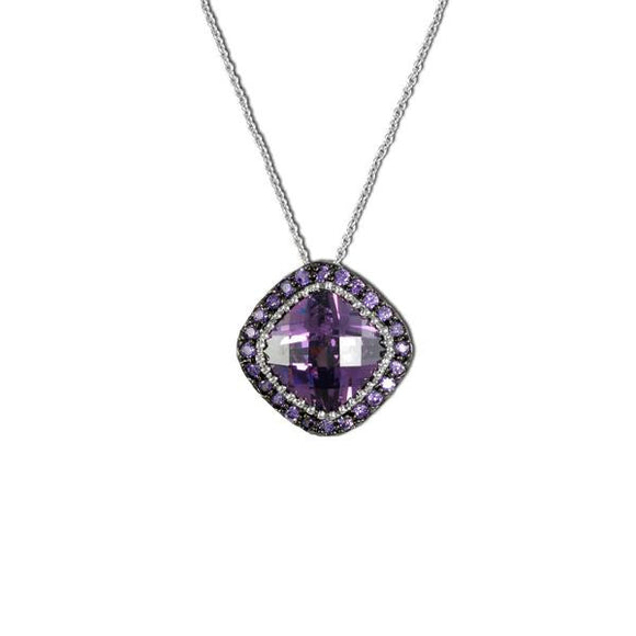 Designer Cushion Cut Amethyst Necklace