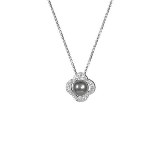 Gray Pearl Flower Necklace