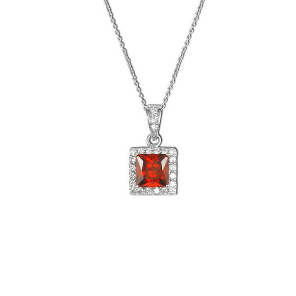 Asscher Cut Garnet Necklace