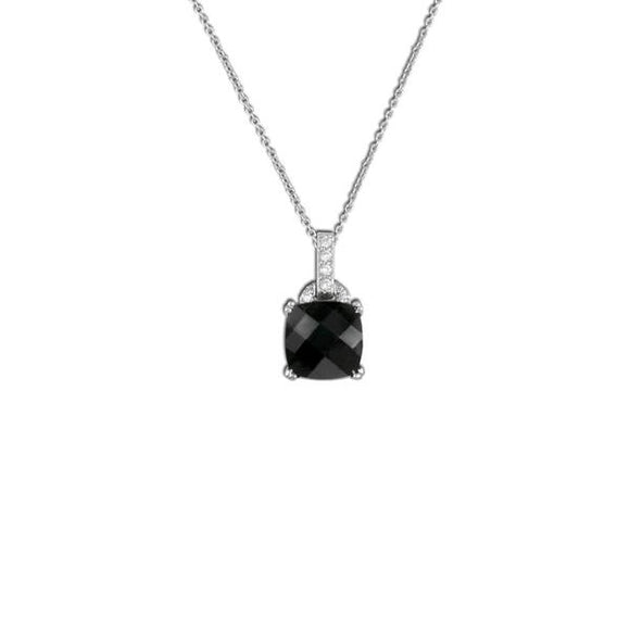 Cushion Cut Jet Necklace
