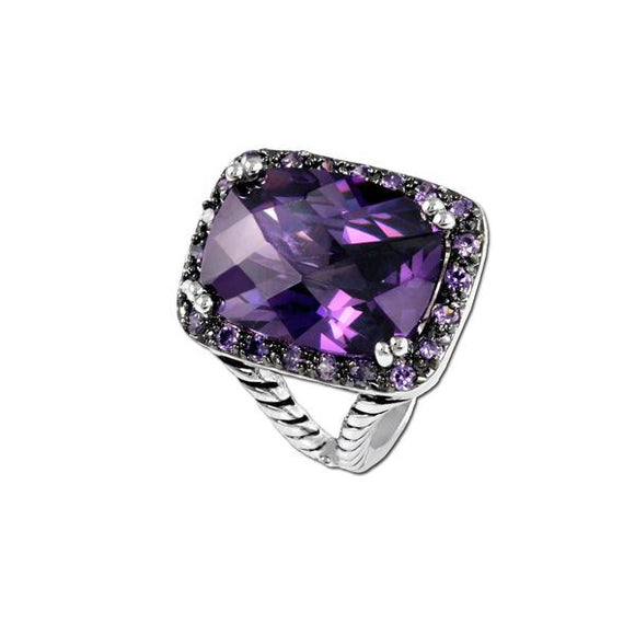 Radiant Cut Antique Amethyst Ring
