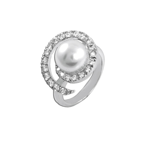 Pearl With Swirled CZs Ring