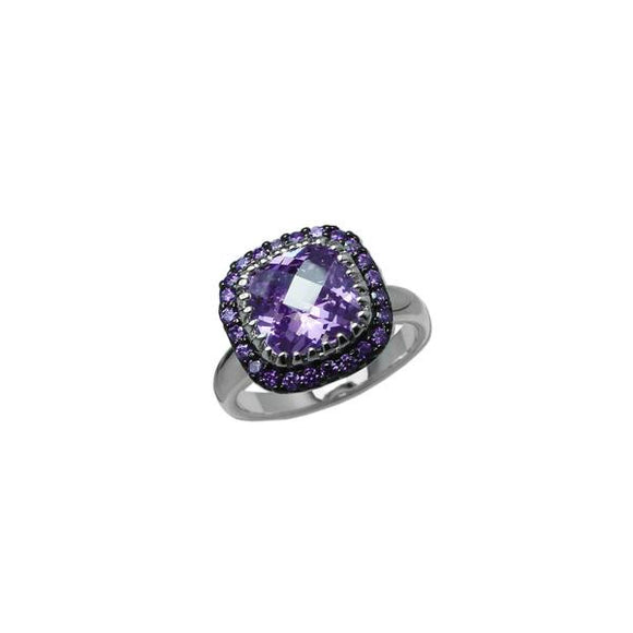 Designer Cushion Cut Amethyst Ring