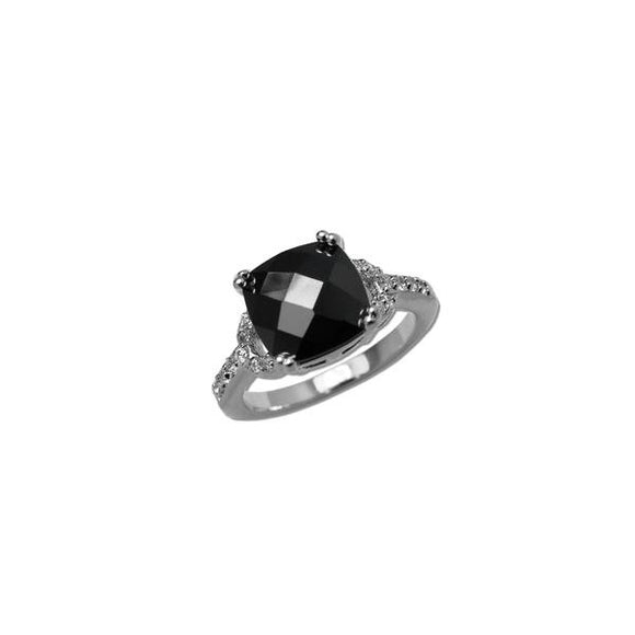 Cushion Cut Jet Ring