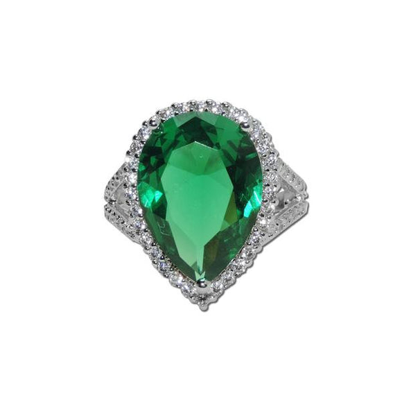 Emerald Pear Cut Ring