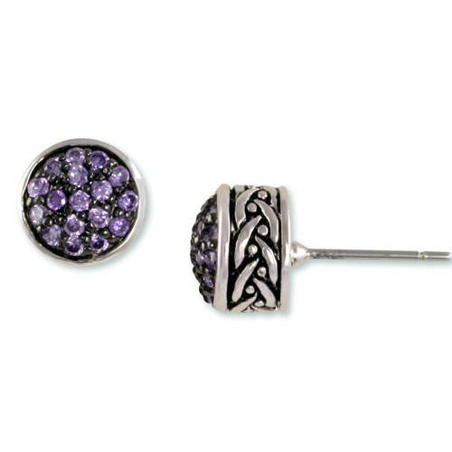 Amethyst Pavé Weave Earrings
