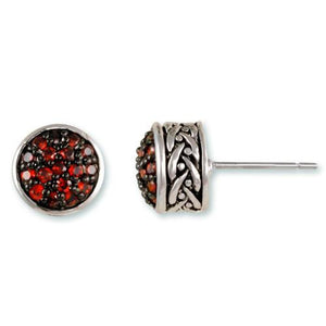 Garnet Pavé Weave Stud Earrings