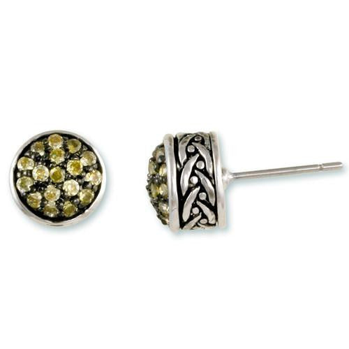 Peridot Pavé Weave Stud Earrings