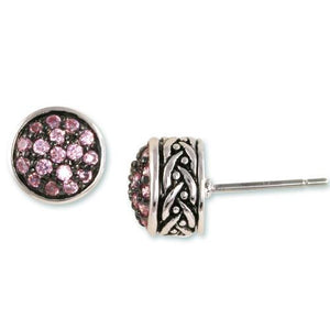 Pink Tourmaline Pavé Weave Stud Earrings
