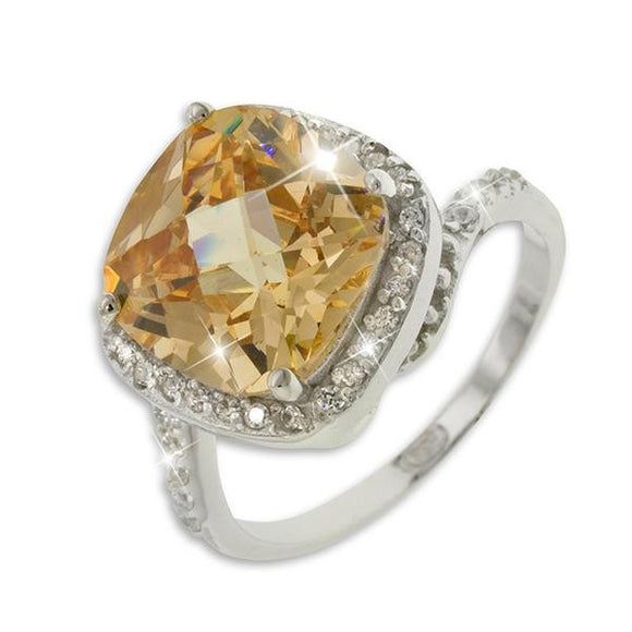 10ct Brown Topaz Cushion Cut Ring