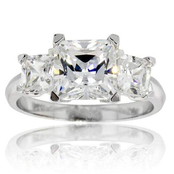 3 Stone Princess Ring