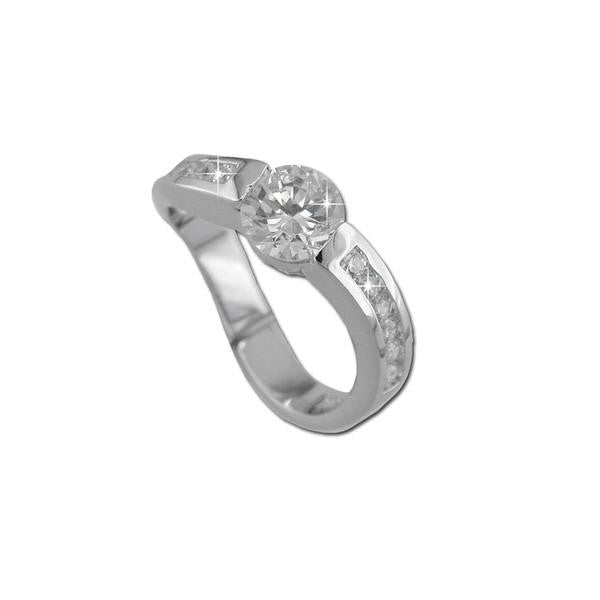 1.25ct Round Cut Curved Band Ring