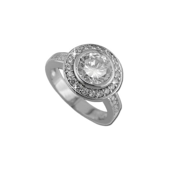 Sterling Silver Bezel Set Round Ring