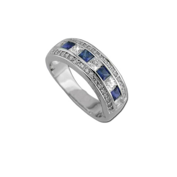 Sterling Silver Princess Cut Sapphire Band Ring