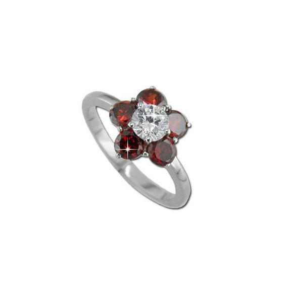 Garnet CZ Flower Ring