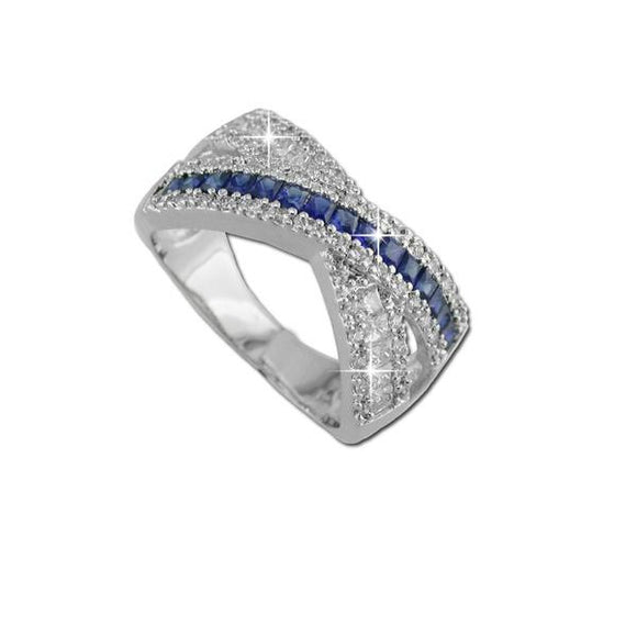 Sapphire Crossover Band Ring