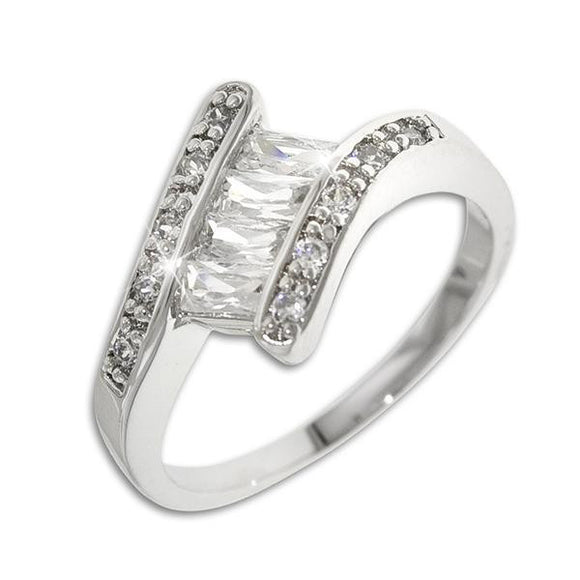 4 Emerald Cut CZs Ring