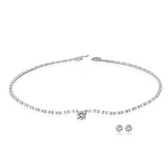 Solitaire on Emerald Cut Chain Necklace With Studs