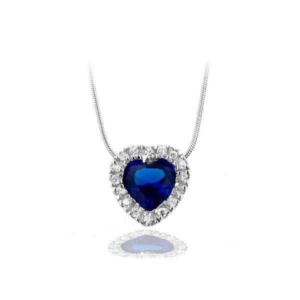 Image result for SAPPHIRE HEART WITH PAVÉ FRAME NECKLACE