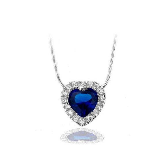 Sapphire Heart With Pavé Frame Necklace