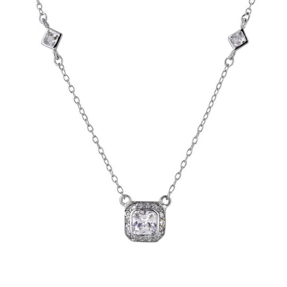 Cushion & Princess Cut Pavé Necklace