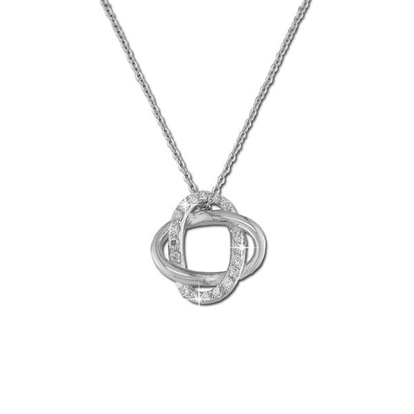 Polished Pavé Interlock Pendant Necklace