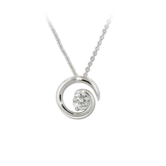 Solitaire Swirl Pendant Necklace