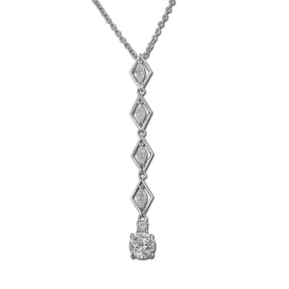 Marquise & Round Drop Pendant Necklace