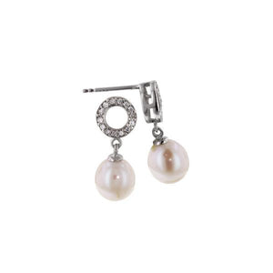 Pavé Circle Champagne Pearl Drop Earrings