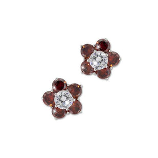 0.5ct Garnet Flower Stud Earrings