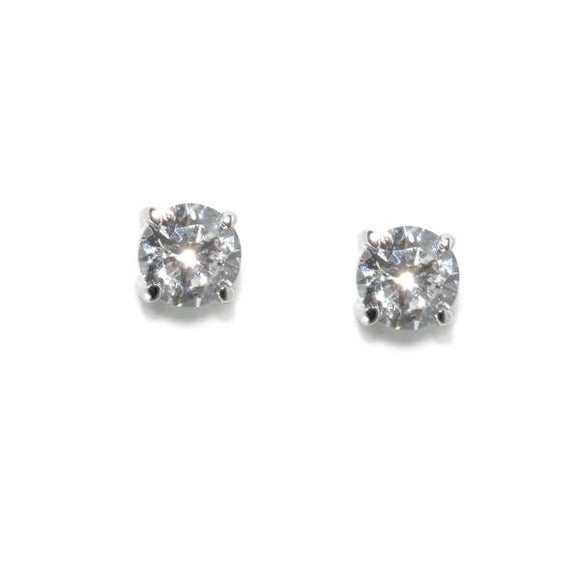 1ct Sterling Silver Round Stud Earrings