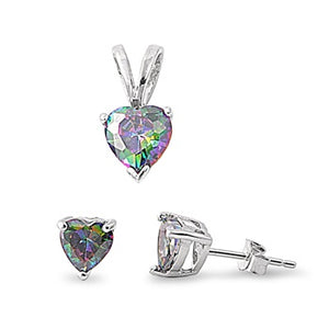 Heart Cut Rainbow Topaz Necklace & Earrings