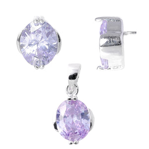 Oval Cut Amethyst Necklace & Earrings