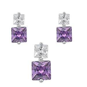 Square Cut Amethyst Necklace & Earrings